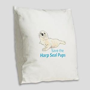 SAVE THE HARP SEAL PUPS Burlap Throw Pillow