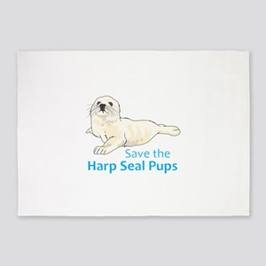 SAVE THE HARP SEAL PUPS 5'x7'Area Rug