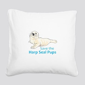 SAVE THE HARP SEAL PUPS Square Canvas Pillow