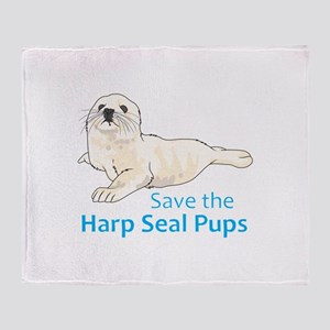 SAVE THE HARP SEAL PUPS Throw Blanket