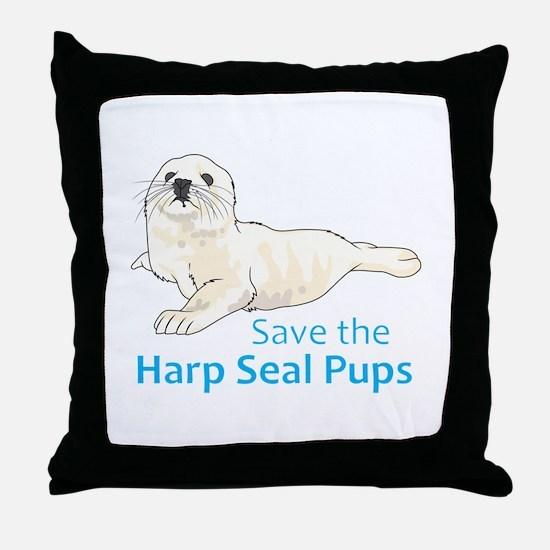 SAVE THE HARP SEAL PUPS Throw Pillow
