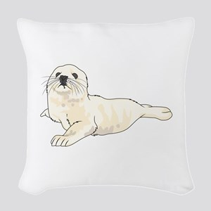 HARP SEAL PUP Woven Throw Pillow