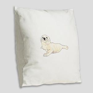 HARP SEAL PUP Burlap Throw Pillow