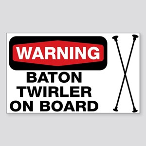 WARNING Baton Twirler Rectangle Sticker
