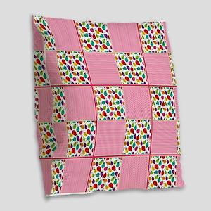 Colorful Ladybug & Stripe Squa Burlap Throw Pillow