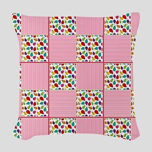 Colorful Ladybug & Stripe Squa Woven Throw Pillow