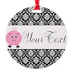 Personalizable Pink Pig Black Damask Ornament