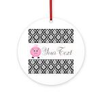 Personalizable Pink Pig Black Damask Ornament (Rou