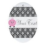 Personalizable Pink Pig Black Damask Ornament (Ova