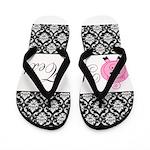 Personalizable Pink Pig Black Damask Flip Flops