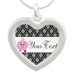 Personalizable Pink Pig Black Damask Necklaces
