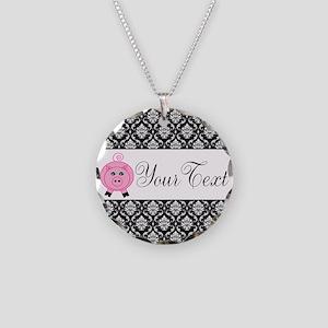 Personalizable Pink Pig Black Damask Necklace