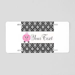 Personalizable Pink Pig Black Damask Aluminum Lice