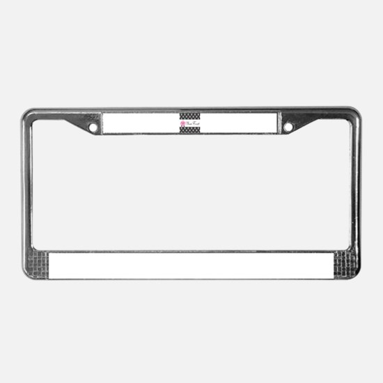 Personalizable Pink Pig Black Damask License Plate