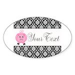 Personalizable Pink Pig Black Damask Sticker