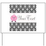 Personalizable Pink Pig Black Damask Yard Sign