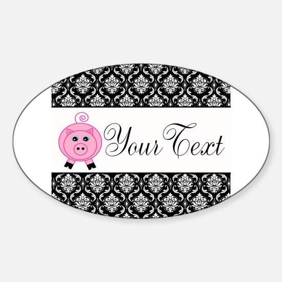 Personalizable Pink Pig Black Damask Decal