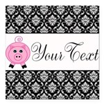 Personalizable Pink Pig Black Damask Square Car Ma