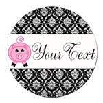 Personalizable Pink Pig Black Damask Round Car Mag