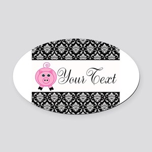 Personalizable Pink Pig Black Damask Oval Car Magn