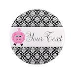 Personalizable Pink Pig Black Damask 3.5
