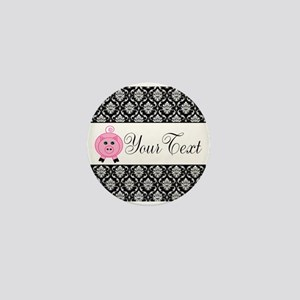 Personalizable Pink Pig Black Damask Mini Button