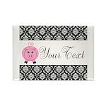 Personalizable Pink Pig Black Damask Magnets