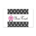 Personalizable Pink Pig Black Damask Wall Decal