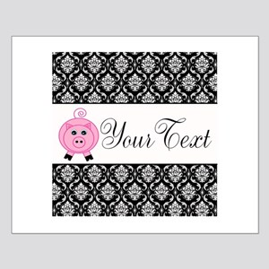 Personalizable Pink Pig Black Damask Posters