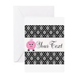 Personalizable Pink Pig Black Damask Greeting Card