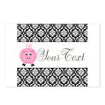 Personalizable Pink Pig Black Damask Postcards (Pa