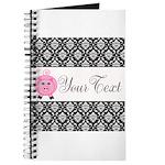 Personalizable Pink Pig Black Damask Journal