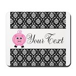 Personalizable Pink Pig Black Damask Mousepad