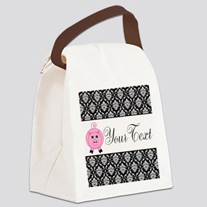 Personalizable Pink Pig Black Damask Canvas Lunch