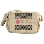 Personalizable Pink Pig Black Damask Messenger Bag