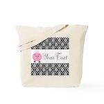 Personalizable Pink Pig Black Damask Tote Bag