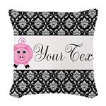 Personalizable Pink Pig Black Damask Woven Throw P