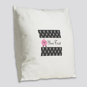 Personalizable Pink Pig Black Damask Burlap Throw