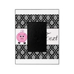 Personalizable Pink Pig Black Damask Picture Frame