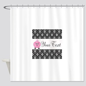 Personalizable Pink Pig Black Damask Shower Curtai