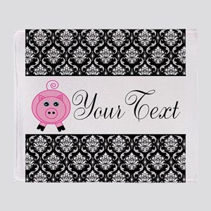 Personalizable Pink Pig Black Damask Throw Blanket