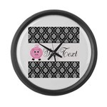 Personalizable Pink Pig Black Damask Large Wall Cl