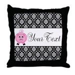Personalizable Pink Pig Black Damask Throw Pillow