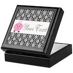 Personalizable Pink Pig Black Damask Keepsake Box