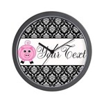 Personalizable Pink Pig Black Damask Wall Clock