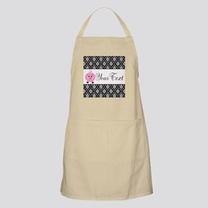Personalizable Pink Pig Black Damask Apron