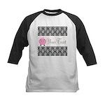 Personalizable Pink Pig Black Damask Baseball Jers