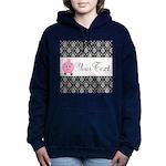 Personalizable Pink Pig Black Damask Women's Hoode