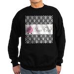 Personalizable Pink Pig Black Damask Sweatshirt