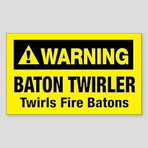Twirls Fire Batons Rectangle Sticker